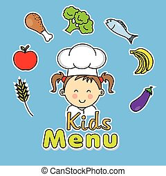 Kids menu. girl chef