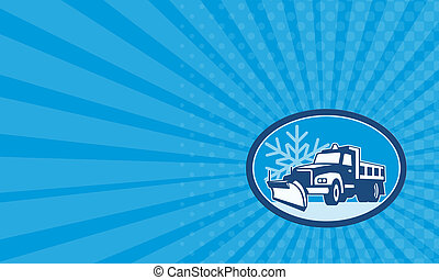 Business card Snow Plow Truck Retro