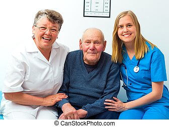 Happy Patient and His Doctors - Great mood at the hospital-...
