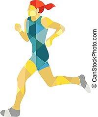 Female Triathlete Marathon Runner Low Polygon
