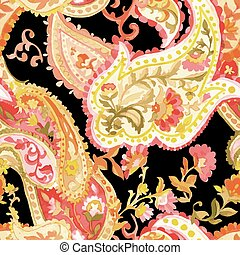 Watercolor paisley seamless pattern. Warm colors. Indian,...