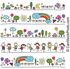 colorful pattern for children with cute nature elements,...