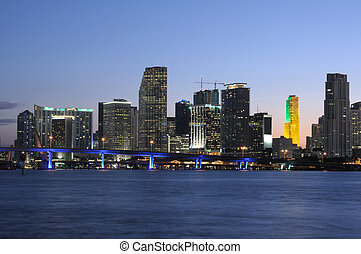 Downtown Miami Skyline at Dusk, Florida USA