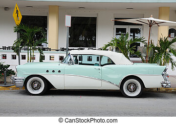 Ancient Car in Miami South Beach, Florida USA