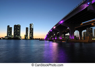 Bridge over the Biscayne Bay at night, Miami Florida, USA