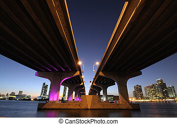 Bridge over the Biscayne Bay in Miami, Florida USA