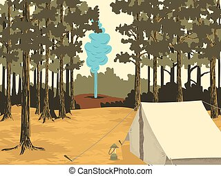 Greetings From Yellowstone - Vector-style illustration of a...