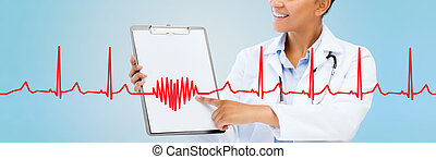 close up of smiling female doctor with clipboard - health...