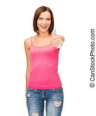 woman in blank pink tank top showing thumbs up - happy...