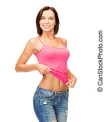 woman showing abs