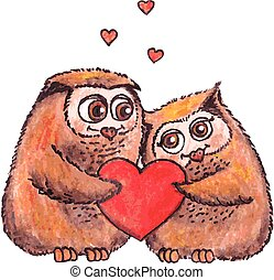 owls in love with heart vector watercolor. - owls in love...