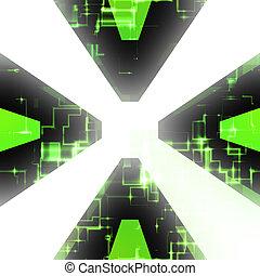 Computer Circuitry Vortex - Green computer circuitry vortex...