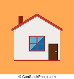 Vector house, flat style - Vector house with white walls and...