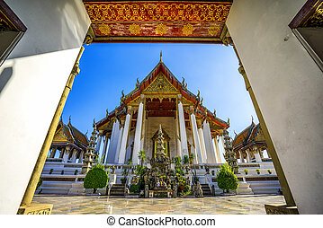 Wat Suthat Thepphawararam with clear blue sky background,...
