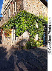 traditional corner house covered in ivy - Traditional corner...