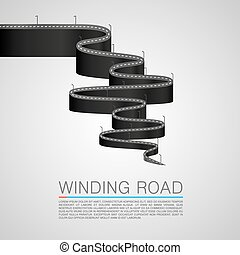 Winding road to the top. Vector Illustration