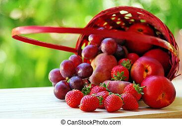 fresh strawberries in full basket of fruits