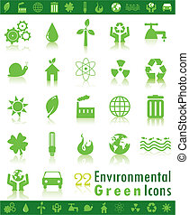 Enviromental icons - Set of environmental green web icons.