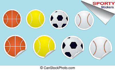 Bouncy Stickers Set - Set of four sticker sports ball