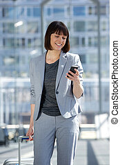 Professional business woman traveling - Portrait of a...