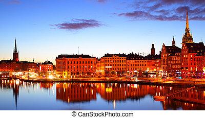 Gamla Stan - Old Town Gamla Stan of Stockholm at night