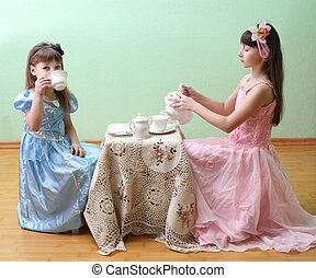 Tea Party - Little Girls Having a Fancy Tea Party