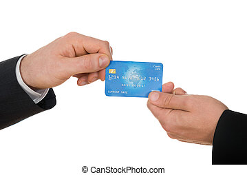 Two Businessman Holding Credit Card - Close-up Of Two People...