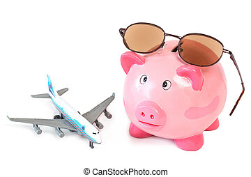 Piggy bank with sunglasses and toy plane on white background...