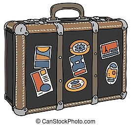 Vintage suitcase - Hand drawing of a vintage big leather...