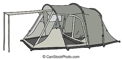 Gray tent - Hand drawing of a gray big tent