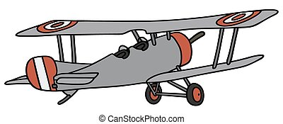Vintage biplane - Hand drawing of a vintage gray military...