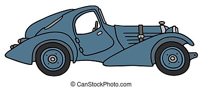 Vintage coupe - Hand drawing of a vintage blue coupe - not a...