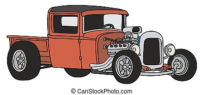 Red hot rod - Hand drawing of a funny vintage red pick-up -...