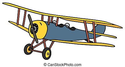 Vintage biplane - Hand drawing of a vintageblue and yellow...