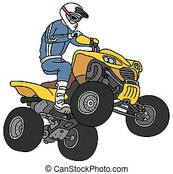 Rider on the ATV - Hand drawing of a rider on the yellow all...