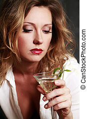 Martini - Beautiful woman with a glass of martini