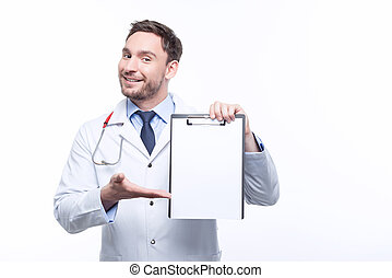 Professional doctor holding the papers