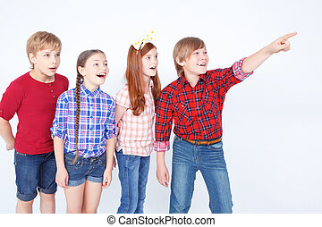 Cheerful friends expressing positivity - Look Young boy...