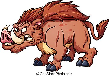 Wild boar - Cartoon wild boar Vector clip art illustration...