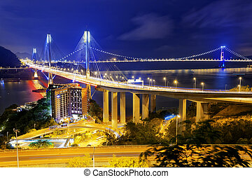 Ting Kau bridge at night, Hong Kong landmark