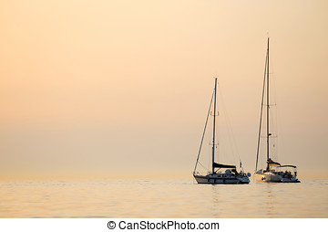 Boats anchored in Adriatic sea - Two boats anchored in the...