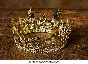 Medieval crown - Medieval style golden crown on antique...