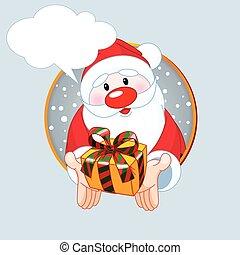 Santa  giving a gift card