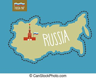 Russia Map Russia surrounded by barbed wire The Kremlin in...