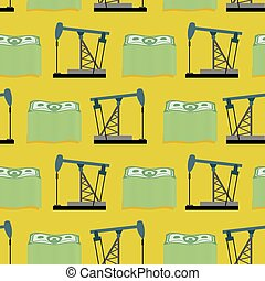 Oil rig and a bundle of money seamless pattern. Vector rich background. A lot of dollars and oil.