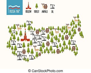 Russia Map. Infographic of the Russian Federation. Minerals oil and forests. The Moscow Kremlin and bears. Vector illustration