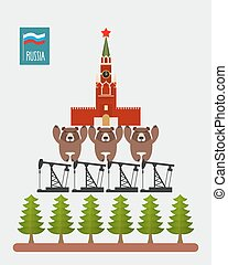 Structure Russia Moscow Kremlin is based on three bears...