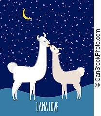 Llama Alpaca. Two cute llama Kiss at night under the starlit...