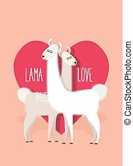 Lama love. Two Llama Alpaca on ackground of heart. Greeting...