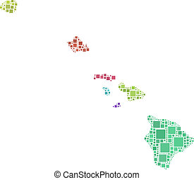 Map of Hawaii - The figure is composed by a mesh of squares...